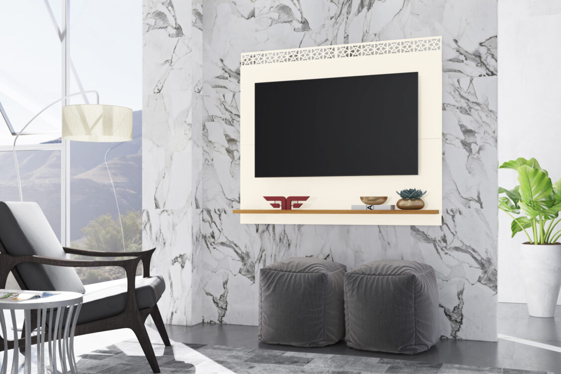 Painel City New - Off White e Coral - Ambiente (1)